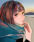 1girl absurdres aqua_eyes bangs blush bob_cut brown_hair hand_up highres huge_filesize looking_at_viewer mask mask_pull medium_hair mouth_mask multicolored multicolored_eyes original outdoors portrait red_eyes richard_(ri39p) smile solo surgical_mask white_mask