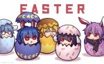 5girls :3 :d animal_ears animal_print bangs black_hair blonde_hair bunny_print carrot_print closed_eyes crescent_print easter_egg eating egg english_text floppy_ears food_print half-closed_eyes in_container inaba_tewi long_hair long_sleeves looking_at_viewer multiple_girls o_o open_mouth purple_hair rabbit_ears red_eyes reisen_(touhou_bougetsushou) reisen_udongein_inaba ringo_(touhou) seiran_(touhou) short_hair simple_background smile star_(symbol) star_print touhou triangle_mouth unime_seaflower white_background