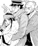 1girl 2boys :d ainu ainu_clothes arm_up asirpa bandana beard black_eyes black_hair blush buzz_cut cape coat commentary_request ear_piercing earrings facial_hair from_side fur_cape goatee golden_kamuy greyscale hat headband hoop_earrings hug hug_from_behind imperial_japanese_army jacket jewelry kepi long_hair long_sleeves looking_at_viewer military military_hat military_uniform monochrome multiple_boys open_mouth osmt328 parted_lips piercing scar scar_on_cheek scar_on_face scar_on_mouth scar_on_nose scarf shiraishi_yoshitake short_hair sideburns sidelocks signature simple_background smile sugimoto_saichi uniform upper_body v very_short_hair white_background