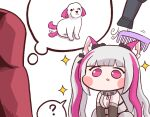 ? animal_ears bangs black_lilith blunt_bangs blush_stickers bulga chibi comb commander_(last_origin) dog dog_ears dog_girl eternity_(last_origin) hair_dryer last_origin minigirl open_mouth simple_background sparkle spoken_question_mark thought_bubble twintails white_background