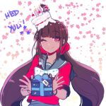 1girl 310v3 ;) bangs black_hair blunt_bangs box brown_hair cake candle cherry commentary danganronpa_(series) danganronpa_v3:_killing_harmony english_commentary eyebrows_visible_through_hair food food_on_head fruit gift gift_box hair_ornament hair_scrunchie happy_birthday harukawa_maki highres holding holding_gift long_hair looking_at_viewer low_twintails miniboy mole mole_under_eye momota_kaito object_on_head one_eye_closed red_eyes red_scrunchie red_shirt sailor_collar school_uniform scrunchie serafuku shirt skirt smile solo_focus twintails upper_body very_long_hair