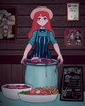 1girl absurdres apron aqua_eyes aqua_shirt black_bow black_neckwear bow bowtie collared_shirt deent30390450 dripping english_text expressionless eyebrows_visible_through_hair food hat highres long_hair looking_at_viewer original pot redhead restaurant saturn_devouring_his_son shirt sleeves_rolled_up solo striped_apron white_headwear