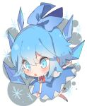 1girl absurdres blue_background blue_dress blue_eyes blue_hair blush bow chibi cirno detached_wings dress full_body grey_background hair_bow hall_jion highres ice ice_wings open_mouth outstretched_arms puffy_short_sleeves puffy_sleeves red_neckwear shirt shoes short_hair short_sleeves snowflakes socks solo touhou white_background white_legwear white_shirt wings