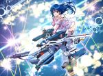 1boy 1girl battle black_hair cable canopy choujikuu_yousai_macross couple dress energy_beam energy_cannon explosion gerwalk giant giantess gloves good_end gunpod handlebar highres ichijou_hikaru laser_beam lynn_minmay maclone macross macross:_do_you_remember_love? mecha microphone missile missile_pod music nuclear_weapon redesign riding roundel science_fiction singing skirt songstress space star_(sky) starry_background strap thrusters u.n._spacy v-mag variable_fighter vf-1 vf-1_strike vf-1s