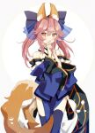 1girl animal_ear_fluff animal_ears bare_shoulders blue_kimono blue_legwear blue_ribbon blush collarbone detached_sleeves fate/extella fate/extra fate/extra_ccc fate/grand_order fate_(series) fox_ears fox_girl fox_tail hair_ribbon highres japanese_clothes kimono looking_at_viewer matsuoka_(mtok_0) nail_polish pink_hair ribbon solo tail tamamo_(fate)_(all) tamamo_no_mae_(fate) yellow_eyes