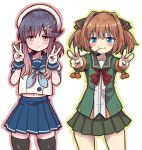 2girls absurdres aqua_neckwear bangs black_legwear blue_eyes blue_skirt brown_hair candy double_v food gloves gradient_hair green_jacket green_skirt hachijou_(kantai_collection) hair_ornament hair_ribbon hat highres jacket kantai_collection lollipop long_sleeves mouth_hold multicolored_hair multiple_girls neckerchief outline pleated_skirt pom_pom_(clothes) purple_hair red_neckwear ribbon sailor_collar school_uniform serafuku short_sleeves sidelocks simple_background skirt smile thigh-highs tsushima_(kantai_collection) unagiman v white_background white_gloves white_headwear yellow_eyes