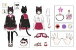 1girl animal_ear_headwear bangs bell black_hair black_headwear black_jacket bow cat_tail character_sheet eyebrows_visible_through_hair goggles goggles_on_headwear graphic_shirt hair_ornament hairclip hat jacket jewelry maru_(ruvixia) mery_(yangmalgage) official_art open_hands red_bow ring ruvixia second-party_source shirt shoes short_hair sneakers sunglasses tail virtual_youtuber white_shirt yellow_eyes