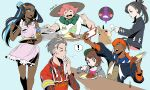 3boys 3girls apron armlet beige_headwear bike_shorts black_hair black_hoodie black_jacket blue_eyes blue_hair bob_cut brown_eyes brown_hair cardigan closed_eyes collared_shirt commentary curry dark_skin dark_skinned_female dark_skinned_male earrings eating feeding food freckles gen_4_pokemon gen_8_pokemon gloria_(pokemon) green_eyes green_headwear grey_cardigan gym_leader hair_bun hair_ribbon hat highres holding holding_ladle hood hooded_cardigan hoodie hoop_earrings jacket jewelry kabu_(pokemon) knees ladle long_hair marnie_(pokemon) milo_(pokemon) morpeko morpeko_(full) morpeko_(hangry) multicolored_hair multiple_boys multiple_girls necklace nessa_(pokemon) open_mouth pikat pink_apron pink_hair plate pokemon pokemon_(creature) pokemon_(game) pokemon_swsh raihan_(pokemon) red_ribbon ribbon rice rotom rotom_phone shirt short_hair short_sleeves smile spilling sun_hat tam_o'_shanter teeth tongue towel towel_around_neck two-tone_hair wiping_mouth