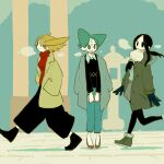 3girls aqua_eyes aqua_hair black_eyes black_footwear black_hair black_sweater blonde_hair coat earrings green_footwear highres jewelry long_sleeves multiple_girls original profile red_footwear red_sweater shadow shoes sweater urajirogashi walking