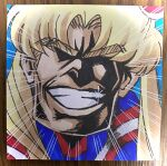 all_might blonde_hair boku_no_hero_academia derivative_work emphasis_lines fujidai_(d-works) glint grin highres photo_(medium) portrait sailor_moon_redraw_challenge screencap_redraw smile solo sparkle teeth thick_eyebrows traditional_media