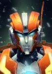1boy autobot blue_eyes english_commentary highres looking_at_viewer male_focus mecha mimint no_humans portrait radio_antenna rung smirk solo the_transformers_(idw) transformers v-shaped_eyebrows