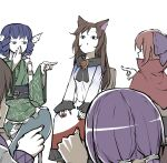 <o>_<o> 5girls animal_ears bangs black_eyes blue_bow blue_eyes blue_hair bow brooch brown_hair chair cloak dress drill_locks frilled_kimono frills green_kimono hair_bow hand_to_own_mouth hands_on_own_knees highres imaizumi_kagerou japanese_clothes jewelry kimono long_hair long_sleeves multiple_girls open_mouth peroponesosu. pointing_at_another purple_hair red_nails redhead sash sekibanki short_hair simple_background sitting tied_hair touhou tsukumo_benben tsukumo_yatsuhashi wakasagihime werewolves_of_millers_hollow white_background white_dress wolf_ears