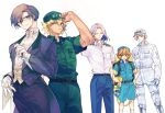 5boys adjusting_clothes adjusting_headwear b_cell_(hataraku_saibou_lady) backwards_hat baseball_cap belt black_hair blonde_hair blue_eyes blue_jumpsuit boots bow bowtie braid brown_eyes brown_hair butler closed_eyes closed_mouth cross-laced_footwear dark_skin dark_skinned_male earrings freckles glasses gloves habuha hair_intakes hands_on_hips hat hataraku_saibou hataraku_saibou_lady helper_t_(hataraku_saibou_lady) highres jewelry jumpsuit killer_t_(hataraku_saibou_lady) knife lace-up_boots macrophage_(hataraku_saibou_lady) multiple_boys official_art open_mouth pale_skin short_jumpsuit sidelocks simple_background single_braid smile socks uniform white_background white_blood_cell_(hataraku_saibou_lady) white_footwear white_gloves white_legwear white_neckwear