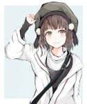 1girl beret black_headwear black_shirt border brown_eyes brown_hair commentary_request dairyo3 grey_background hat highres jacket kantai_collection looking_at_viewer naka_(kantai_collection) official_alternate_costume shirt short_hair solo strap sweater two-tone_background upper_body white_border white_jacket white_sweater
