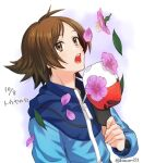 1boy bangs blue_jacket brown_eyes brown_hair commentary_request eyebrows_visible_through_hair flower hand_up hat highres hilbert_(pokemon) holding holding_clothes holding_hat jacket leaf long_sleeves looking_up male_focus nagiru open_mouth petals pink_flower pokemon pokemon_(game) pokemon_bw solo teeth tongue upper_body watermark zipper_pull_tab