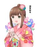 1girl alternate_costume alternate_hairstyle bangs blunt_bangs brown_hair commentary_request eyebrows_visible_through_hair floral_print flower fubuki_(kantai_collection) green_eyes hair_bun hair_flower hair_ornament japanese_clothes jewelry kantai_collection kimono kiusagi_sanae long_hair new_year pink_kimono ring sidelocks simple_background solo upper_body wedding_band white_background