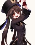 1girl :d arms_up black_shorts bound bound_wrists brown_hair chinese_clothes genshin_impact half-closed_eyes hat highres hu_tao long_hair long_sleeves looking_at_viewer ohpe open_mouth red_eyes rope shorts smile solo symbol-shaped_pupils tied_up twintails