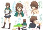 1girl antenna_hair arrow_(symbol) bangs belt blush boots brown_eyes brown_footwear brown_hair character_sheet closed_mouth collarbone commentary_request darkness_(konosuba) evil_smile fleeing frog from_behind full_body genderswap genderswap_(mtf) green_capelet hands_on_hips hands_up holding knee_boots kono_subarashii_sekai_ni_shukufuku_wo! long_sleeves looking_at_viewer megumin multiple_views pia_(5pianno) portrait satou_kazuma short_hair simple_background skirt smile solo_focus standing translation_request white_background