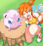 1girl :t ;d anger_vein angry bag bangs bare_arms bare_shoulders blue_eyes blue_shorts breasts cellphone collarbone crop_top cutoffs eyebrows_behind_hair gen_1_pokemon grass hair_between_eyes hair_tie hands_on_hips highres holding holding_phone jigglypuff misty_(pokemon) one_eye_closed one_knee open_mouth orange_hair outdoors phone pokemon pokemon_(anime) pokemon_(classic_anime) pokemon_(creature) pretty-purin720 red_footwear round_teeth self_shot shirt shoelaces shoes short_hair shorts side_ponytail small_breasts smartphone smile starmie staryu tank_top teeth tree_stump v yellow_shirt
