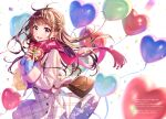 1girl absurdres bag balloon bangs blush box brown_eyes brown_hair buttons confetti earrings eyebrows_visible_through_hair gift handbag heart heart-shaped_box heart_balloon highres holding holding_gift huge_filesize jacket jewelry lips long_sleeves looking_at_viewer lopen_jacket morikura_en open_mouth original pink_jacket pink_scarf scan scarf shiny shiny_hair shoulder_bag simple_background skirt sleeves_past_wrists smile solo white_background zipper_pull_tab