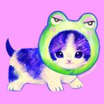 airily animal animal_focus animal_hood artist_name cat commentary english_commentary frog_hood hood kitten making-of_available no_humans original pastel_colors pink_background realistic simple_background solo whiskers