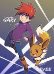 1boy artist_name bangs blue_pants boots brown_footwear brown_hair chappy_(kanata218) character_name clenched_hand closed_mouth commentary_request eevee gary_oak gen_1_pokemon highres jewelry long_sleeves looking_at_viewer male_focus necklace outline pants pokemon pokemon_(anime) pokemon_(creature) purple_shirt shirt smile spiky_hair