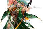 1boy architecture arrow_(projectile) beard bow_(weapon) company_name drawing_bow east_asian_architecture facial_hair foreshortening green_headwear index_finger_raised japanese_clothes japants male_focus mustache official_art quiver sangokushi_taisen simple_background solo standing watermark weapon white_hair wide_sleeves