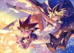 2boys armlet atem blonde_hair cape closed_mouth commentary_request earrings floating_cape fushitasu jewelry looking_at_viewer male_focus multicolored_hair multiple_boys mutou_yuugi one_eye_closed pants purple_hair shoes smile spiky_hair star_(symbol) vest white_footwear yu-gi-oh!