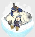 1boy 1girl ainu ainu_clothes animal asirpa bandana black_hair blue_bandana blue_coat blue_headwear brown_footwear buttons cape chibi coat commentary_request ear_piercing earrings facing_viewer full_body fur fur_cape golden_kamuy hands_together hat hoop_earrings ice imperial_japanese_army jewelry kepi long_hair long_sleeves military military_hat military_uniform onnomono open_mouth piercing saliva saliva_trail scar scar_on_cheek scar_on_face scar_on_nose scarf seal short_hair sidelocks simple_background sleeping spiky_hair squirrel star_(symbol) sugimoto_saichi two-tone_headwear uniform wide_sleeves yellow_headwear yellow_scarf