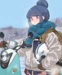 1girl blue_hair blush breath cold gloves ground_vehicle hair_bun helmet highres motor_vehicle nature open_mouth outdoors scarf scooter shima_rin solo violet_eyes winter_clothes xiao_chichi yamaha_vino yurucamp