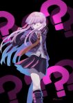 1girl ? bare_legs black_background black_footwear black_gloves black_skirt boots braid danganronpa:_trigger_happy_havoc danganronpa_(series) feet_out_of_frame gloves hair_over_mouth hair_ribbon hand_on_own_cheek hand_on_own_face highres jacket kirigiri_kyouko long_hair looking_at_viewer necktie purple_hair purple_jacket purple_ribbon red_neckwear ribbon shirt side_braid simple_background skirt solo takagiri violet_eyes white_shirt