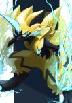 blue_eyes claws electricity fangs gen_7_pokemon highres ikei mixed-language_commentary mythical_pokemon no_humans open_mouth pokemon pokemon_(creature) sideways_glance solo yellow_fur zeraora