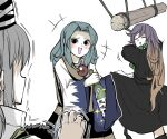 3girls ^_^ alcohol bangs beads black_dress black_eyes black_headwear blue_hair bottle brown_hair closed_eyes dress gradient_hair green_neckwear grey_hair hat hat_removed hat_ribbon headwear_removed highres hijiri_byakuren holding holding_bottle hood japanese_clothes jewelry kariginu kesa kumoi_ichirin log long_sleeves looking_at_another mononobe_no_futo multicolored_hair multiple_girls nun open_mouth pendant peroponesosu. pom_pom_(clothes) prayer_beads purple_hair ribbon shaking simple_background smile standing star_(symbol) tate_eboshi touhou white_background white_ribbon wide_sleeves wine_bottle