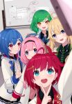 5girls ahoge asahina_akane_(nijisanji) billboard blonde_hair blue_hair commentary_request green_hair hair_ornament headband highres jacket kitakouji_hisui multiple_girls nijisanji nijyuuhaku nishizono_chigusa open_mouth pink_hair redhead school_uniform self_shot suou_sango toudou_kohaku v virtual_youtuber