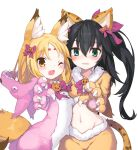 2girls absurdres animal_costume animal_ear_fluff animal_ears armadillon bangs black_hair blonde_hair blue_eyes blush bow brown_eyes claw_pose collarbone cowboy_shot eyebrows_visible_through_hair fake_animal_ears fake_tail fang food_themed_hair_ornament fox_ears fox_tail fur_trim gloves hair_between_eyes hair_bow hair_ornament highres hikimayu leopard_ears leopard_tail long_hair looking_at_viewer midriff multiple_girls navel one_eye_closed open_mouth original parted_bangs parted_lips paw_gloves paws pink_bow pumpkin_hair_ornament side_ponytail simple_background tail white_background wolf_costume