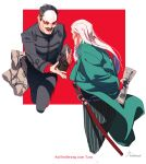 2boys artist_name beard black_eyes black_hair black_jacket black_pants collared_jacket commentary_request facial_hair forehead_protector from_behind german_text goatee golden_kamuy green_pants highres hijikata_toshizou_(golden_kamuy) holding imperial_japanese_army jacket japanese_clothes katana liquid long_hair long_sleeves looking_at_another male_focus map military military_uniform multiple_boys mustache old old_man open_mouth pants red_background scar scar_on_face sheath sheathed short_hair simple_background smile standing striped striped_pants sword teeth translation_request tsurumi_tokushirou uniform upper_body weapon white_background white_hair zifletts