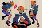 1boy artist_name black_hoodie closed_mouth commentary dark_skin dark_skinned_male gen_4_pokemon gym_leader hand_in_pocket hand_up highres holding holding_poke_ball hood hood_down hoodie knees male_focus open_mouth orange_headwear pikat poke_ball pokemon pokemon_(game) pokemon_swsh raihan_(pokemon) rotom rotom_phone shoes shorts side_slit side_slit_shorts smile teeth tongue