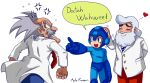 3boys albert_w_wily anger_vein angry ayla_kazemi bald beard blue_eyes blue_helmet blush closed_eyes english_text facial_hair grey_hair heart labcoat multiple_boys mustache necktie petting pointing rockman rockman_(character) rockman_8 signature simple_background smile speech_bubble thomas_light