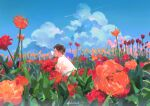1boy blue_sky bug butterfly clouds cloudy_sky field flower flower_field insect insect_on_nose kuribulb leaf orange_flower original pink_flower plant red_flower shirt short_sleeves signature sky solo white_shirt wide_shot