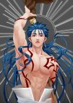 1boy abs absurdres arm_up armpits blue_hair bodypaint closed_mouth cu_chulainn_(fate)_(all) cu_chulainn_(fate/grand_order) earrings fate/grand_order fate_(series) floating_hair gomyoa highres holding holding_staff jewelry long_hair looking_at_viewer male_focus multiple_piercings muscular nipples red_eyes shirtless solo spiky_hair staff sun type-moon wooden_staff