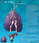 1girl arms_up breasts character_name english_text full_body gen_1_pokemon highres horns kinkymation long_hair looking_at_viewer open_mouth pokemon purple_hair red_eyes simple_background standing venonat very_long_hair