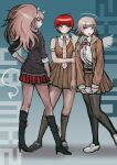 3girls absurdres arrow_(symbol) bangs bear_hair_ornament black_footwear black_legwear black_shirt boots brown_dress brown_jacket brown_skirt closed_mouth collared_shirt danganronpa_(series) danganronpa_2:_goodbye_despair danganronpa_3_(anime) dress dress_shirt enoshima_junko freckles frown full_body green_background grey_shirt hair_ornament highres holding jacket knee_boots kneehighs koizumi_mahiru long_hair long_sleeves looking_at_viewer medium_hair miniskirt multiple_girls nanami_chiaki neck_ribbon necktie official_style open_mouth pinafore_dress plaid_neckwear pleated_skirt red_ribbon red_skirt redhead ribbon school_uniform shiny shiny_hair shirt shirt_tucked_in shoes short_hair short_sleeves skirt smile sozzaydr spoilers standing thigh-highs white_footwear wings