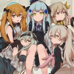 404_(girls_frontline) 5girls book bow bowtie g11_(girls_frontline) girls_frontline hat highres hk416_(girls_frontline) long_hair mini_hat multiple_girls persocon93 scar scar_across_eye siblings side_ponytail sisters stuffed_animal stuffed_bunny stuffed_toy twins twintails ump40_(girls_frontline) ump45_(girls_frontline) ump9_(girls_frontline) younger