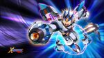1boy alternate_color alternate_costume android arm_cannon armor forehead_jewel forehead_protector full_body gem gloves green_eyes helmet highres jetpack jumping magnet mizuno_keisuke official_alternate_costume official_art open_mouth pauldrons robot rockman rockman_x serious shoulder_armor shoulder_pads solo third-party_source wallpaper weapon white_armor x_(rockman)