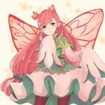 1girl absurdres butterfly_wings eyebrows_visible_through_hair fire_emblem fire_emblem_heroes flower hair_flower hair_ornament highres kaseru78 leggings long_hair long_sleeves looking_at_viewer mirabilis_(fire_emblem) open_mouth pink_hair pointy_ears simple_background solo upper_body violet_eyes wings
