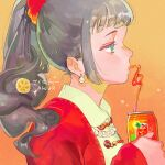 1girl bangs can coat crazy_straw drinking_straw earrings green_eyes grey_hair jewelry kuribulb long_hair necklace orange_background original ponytail red_coat skirt solo yellow_skirt