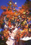 1girl antlers autumn_leaves bird black_hair blue_sky coat kuribulb long_sleeves original outdoors raccoon reindeer shadow short_hair signature sky sleeves_past_wrists solo white_coat