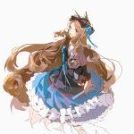 1girl absurdres animal_ears arknights blonde_hair blue_eyes blue_skirt cat_ears highres iris_(arknights) kagura_tohru looking_at_viewer skirt smile