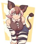 1girl animal_ears animal_print arm_behind_back bangs bare_shoulders bow bowtie breasts brown_eyes brown_hair closed_mouth commentary cutoffs denim denim_shorts detached_sleeves english_commentary extra_ears eyebrows_visible_through_hair grey_hair hair_between_eyes highres kemono_friends large_breasts leaning_forward legwear_under_shorts looking_at_viewer medium_hair multicolored_hair necktie okapi_(kemono_friends) okapi_ears okapi_tail pantyhose print_legwear print_sleeves shorts smile solo tail two-tone_hair unaligned_breasts vibrantrida