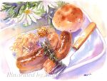 artist_name bread commentary_request english_text flower flower_request food food_request fork marine-island no_humans original sausage signature still_life traditional_media watercolor_(medium) white_flower